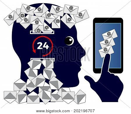 Checking Emails after Work. Businessman reading and answering online messages twenty-four hours a day