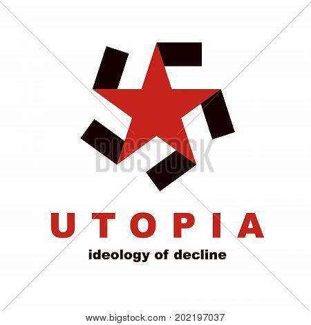 Vector star logo composed with Totalitarian symbol. Totalitarian utopia political propaganda
