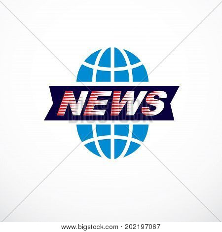 Journalism theme vector emblem created with Earth planet illustration and news writing News and facts reporting.
