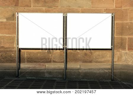 Two Blank Ad Space Sign Isolated In The Street On A Market