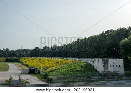 The Stone Buildings At The Zeppelin Field Overgrown With Yellow Flowers In Nuremberg