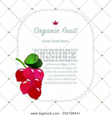 Colorful Watercolor Texture Nature Organic Fruit Memo Frame Cowberry Lingoberry