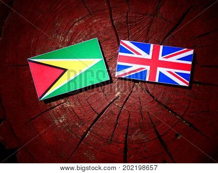Guyana Flag With British Flag On A Tree Stump Isolated