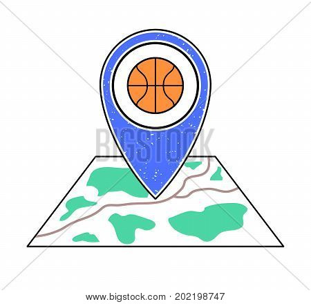 Textured blue geotag icon with basketball symbol pointing at a map.GPS navigation.Mobile device smartphone app website vector illustration.Team sport game sign. Basketball court location on a plan