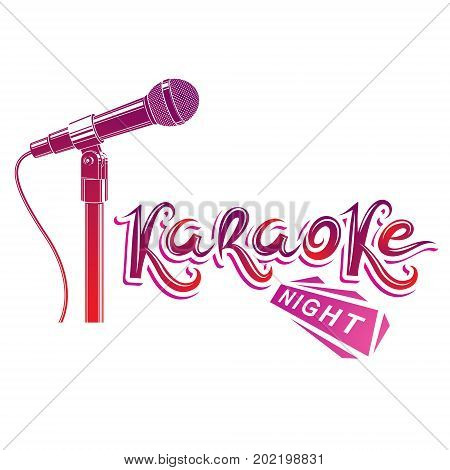 Nightlife entertainment concept karaoke night vector inscription composed with stage microphone illustration. Leisure and relaxation lifestyle presentation.