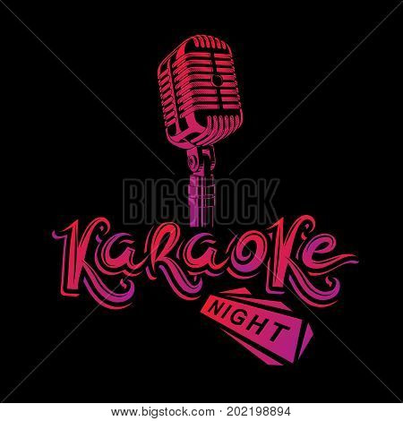 Stage microphone vector illustration stereo and audio professional equipment. Vector emblem for use in karaoke night advertising flyer design.