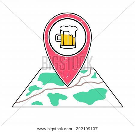 Textured red geotag icon with a pint of beer symbol pointing at a map.Bar irish pub tavern icon.Craft beer brewery sign. UImobile devicesmartphone appwebsite vector illustration.Weekend nightlife