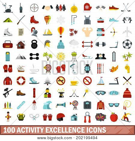 100 activity excellence icons set in flat style for any design vector illustration