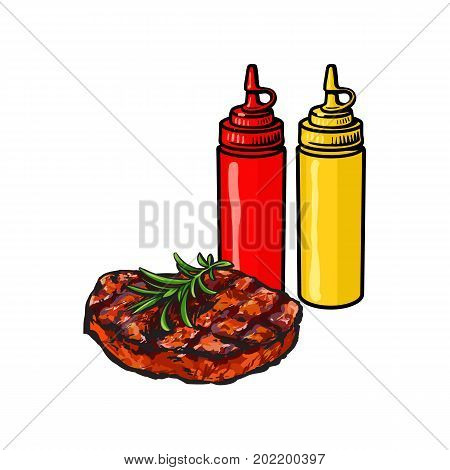 Ketchup, mustard and beef steak, fast food concept, sketch vector illustration on white background. Realistic hand drawing of grilled, roasted beef, pork steak with ketchup and mustard bottles