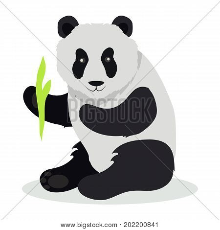 Panda cartoon character. Cute panda with bamboo branch flat vector isolated on white background. Asian fauna. Panda icon. Animal illustration for zoo ad, nature concept, children book illustrating