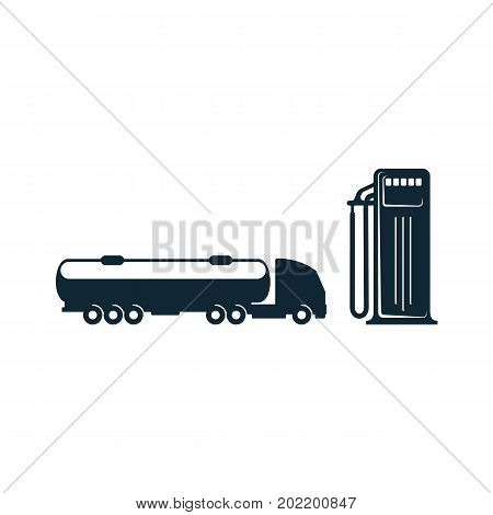 vector gasoline tanker truck vehicle and fueling gas station set simple flat icon pictogram isolated on a white background. Gas oil fuel, energy power industry symbol, sign