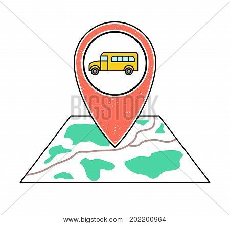 Textured orange geotag icon with yellow school bus symbol pointing at a map.GPS navigation.Mobile device smartphone app website vector illustration. Bus stop location on a city plan. Student guide.