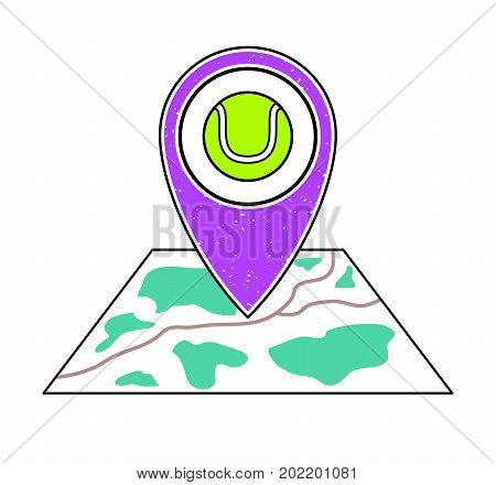 Textured violet geotag icon with green tennis ball symbol pointing at a map.GPS navigation.Mobile device smartphone app website vector illustration.Sport game sign. Tennis court location on a plan