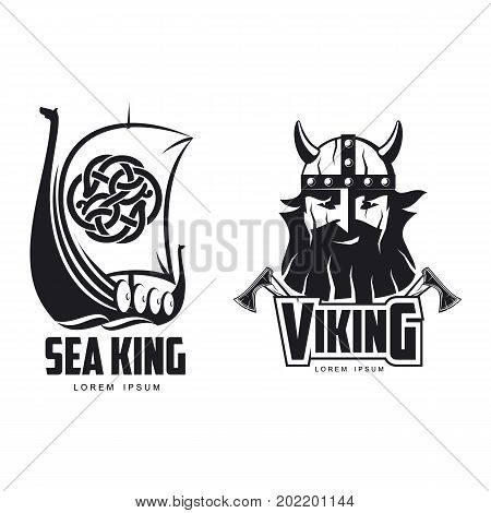 vector vikings icon logo template design simple set flat isolated illustration on a white background. Axes and man in helmet with mustache and beard brutal portrait, wooden ship with sail image