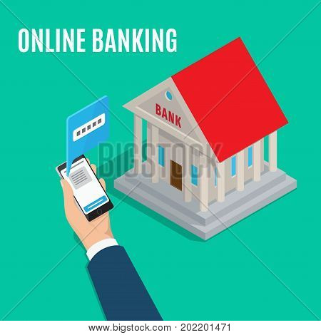 Online banking isometric projection banner. Bank building with columns and businessman hand with phone vector. Making payment transactions in Internet conceptual illustration for business services