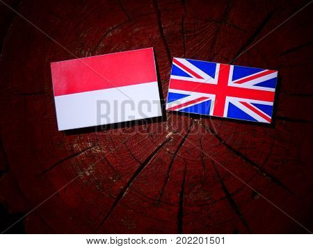 Indonesian Flag With British Flag On A Tree Stump Isolated