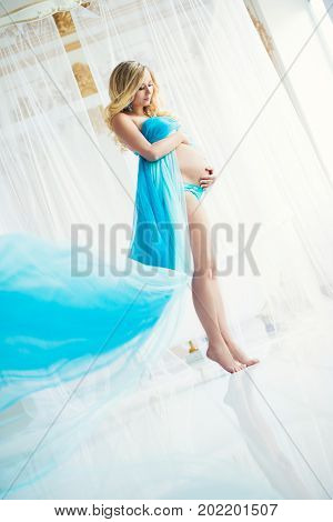Pregnancy, Beautiful pregnant woman. Happy motherhood. Attractive blonde touching naked belly posing in blowing drapery dress flying on wind by blue wall background.