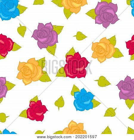 Rose with green leaves seamless pattern. Isolated big purple red blue yellow blossoms in cartoon style walllpaper, wrapping paper. Fashion decoration endless texture. Floral embellishment. Vector