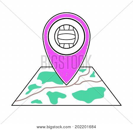Textured pink geotag icon with volleyball symbol pointing at a map.GPS navigation.Mobile device smartphone app website vector illustration.Team sport game sign. Volleyball court location on a plan