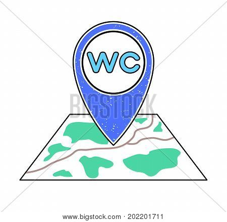 Textured blue geotag WC symbol pointing at a map. GPS navigation. UI mobile device smartphone app website vector illustration. Water closet location. Public restroom on a city plan. Toilet icon.