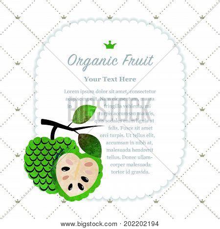 Colorful Watercolor Texture Nature Organic Fruit Memo Frame Cherimoya