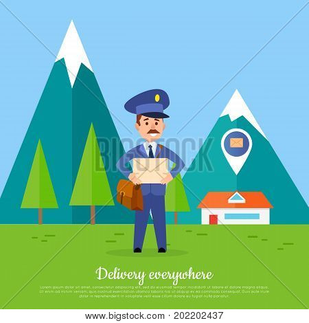 Delivery everywhere. Postman delivers mail envelope to the furthest parts of the world. Mailman in suit holding envelope and mountains with snowy tops behind him. Vector web banner in cartoon style