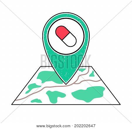 Textured green geotag icon with capsule symbol pointing at a map.GPS navigation.Mobile device smartphone app website vector illustration.Drugstore sign. Pharmacy location on a plan. Clinic emblem.