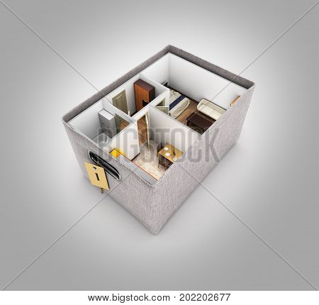 Interior Apartment Roofless Apartment Layout Inside The Box Concept Of Buying A Home Or Moving On Gr