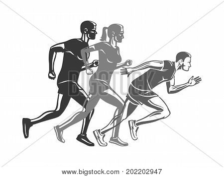 Set of runners silhouettes. Logo template for sport company club. Men and woman run race at competition, victory concept. Sport lifestyle colourless vector illustration. Movement in cartoon style