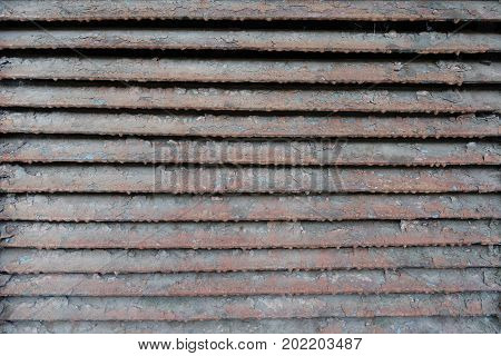 Old Rusty Dirty Peeled Horizontal Metallic Slats