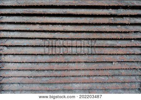 Old Rusty Dirty Peeled Horizontal Metallic Slats