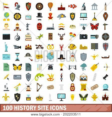 100 history site icons set in flat style for any design vector illustration