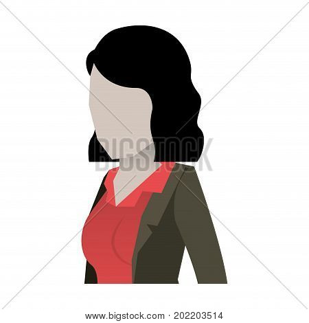 business woman faceless in jacket and half body and short hair in white background vector illustration