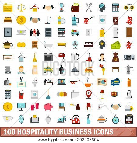 100 hospitality business icons set in flat style for any design vector illustration