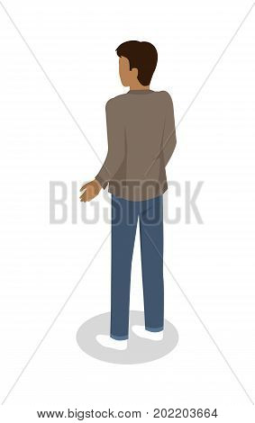 Brunette man in casual clothing standing backwards isometric projection vector isolated on white. Male character figure in jacket and jeans from back view 3d illustration for icons or web design