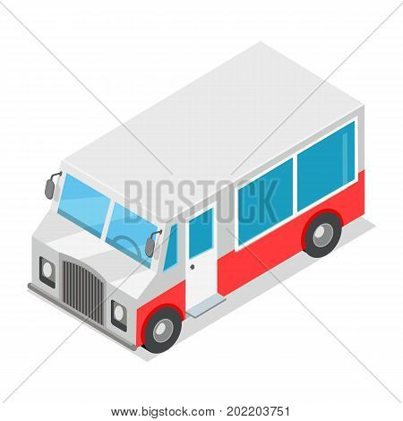 Big streetfood red and grey van isolated on white background. Fast way to have a snack in big city. Urban street element vector illustration. Hotdog or gamburger, sandwich etc right on street.