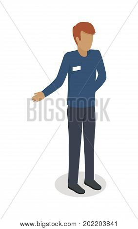 Man Character With Name Badge Male Template In Blue Uniform Isometric Vector Illustration Isolated On
