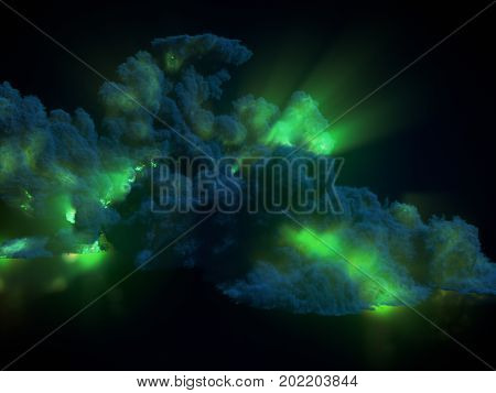 Large chemical green explosion with dark smoke. 3d rendering