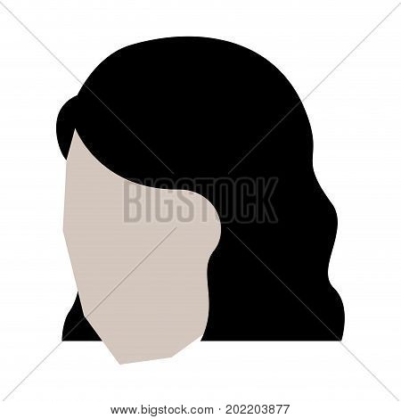woman head faceless with short hairstyle in white background vector illustration