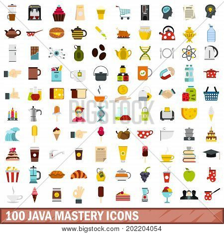 100 java mastery icons set in flat style for any design vector illustration