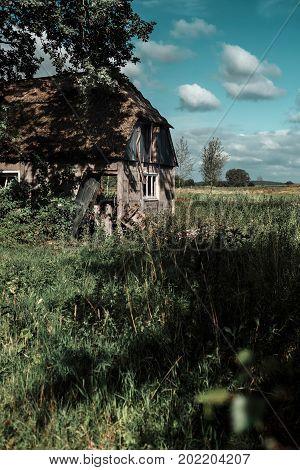 Neglected farmhouse in a wild garden under cloudy sky.