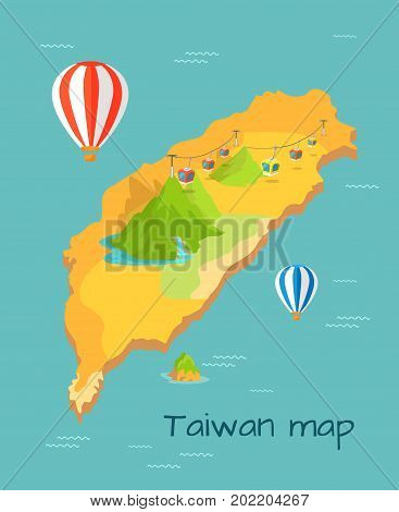 Maokong Dragon mountain cableway in Taiwan on cartography map. Rapidly delivers tourists and locals to top of mountain. Caravans with viewing platform and airballoons in sky vector illustration