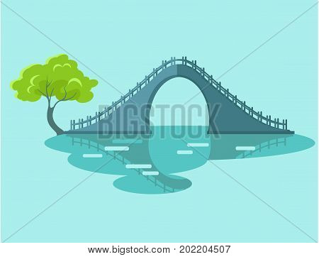 Lunar bridge with green tree in Taiwan isolated on blue. Oval circle resulting from reflection symbolizes moon and sky, which gave name to this type of engineering facilities vector illustration
