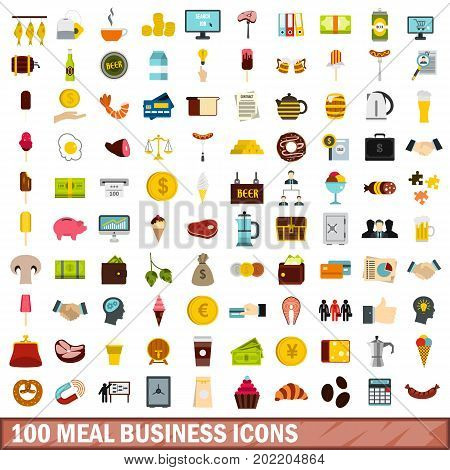 100 meal business icons set in flat style for any design vector illustration