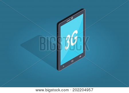 Smart phone with 3G connection flat and shadow theme isolated on blue. Mobile phone with wireless sign. Wireless connectivity concept 3G symbol on smartphone. Vector illustration in flat style.