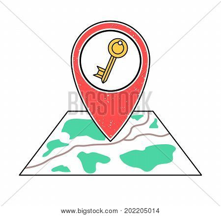 Textured red geotag icon with key pointing at a map.GPS navigation.Mobile device smartphone app website vector illustration. Hotel motel inn hostel house room apartment location on a plan.