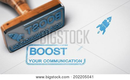 Rubber stamp with the text boost your communication stamped over paper background. Advertising concept. 3D illustration.