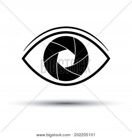 Camera Lens icon flat. Eye camera on white background. Silhouette. Vector illustration.