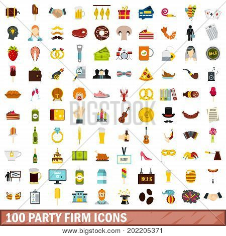 100 party firm icons set in flat style for any design vector illustration