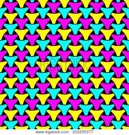 Seamless wickerwork triangle surface pattern. Repeated interlocking cmyk color figures on black background.